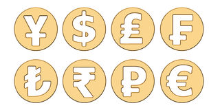 Golden currency symbols, 3D rendering. Isolated on white background stock illustration
