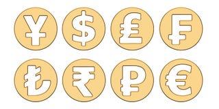Golden currency symbols, 3D rendering Stock Image