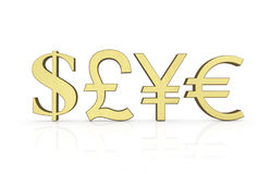 Golden currency symbols Royalty Free Stock Images
