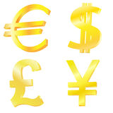 Golden currency symbols. On the white background Royalty Free Stock Image
