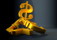 Golden currency US dollar symbol rising over a pile of Pound,Euro,Yen. Royalty Free Stock Images