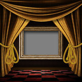 Golden curtain room with wooden frame Royalty Free Stock Images