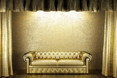 Golden curtain with sofa Stock Images