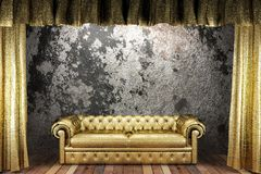 Golden curtain with sofa Stock Image