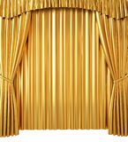 Golden Curtain on White Background Royalty Free Stock Photography