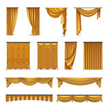 Golden Curtains Drapery Realistic Icons Collection royalty free illustration