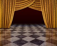 Golden curtains stage. Golden curtains of open stage reflecting from checkered marble floor stock photography