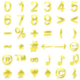 Golden curved 3D numbers and symbols royalty free stock photo