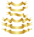 Golden curved ribbons set Stock Images
