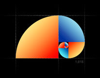 Golden cut. Implementation of the Fibonacci sequence with colored elements Stock Image