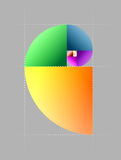 Golden cut. Implementation of the Fibonacci sequence with colored elements Royalty Free Stock Images