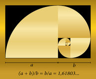 Golden Cut Spiral Formula. Golden cut, shown as a spiral out of quadrants, plus formula. Vector illustration Royalty Free Stock Photos