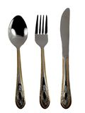Golden cutlery Stock Images