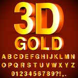 Golden 3D Alphabet and Numbers. Full alphabet of 3d golden letters and numbers Royalty Free Stock Photo
