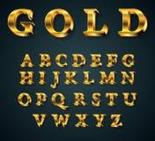 Golden 3D alphabet. Vector illustration of golden 3D alphabet. FONT Royalty Free Stock Photos