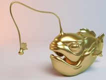 Golden 3D animal (fish with lamp). Inside a stage with high render quality to be used as a logo, medal, symbol, shape, emblem, icon, business, geometric, label Royalty Free Stock Images