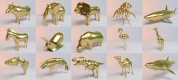 Golden 3D animals collection part one Stock Photo