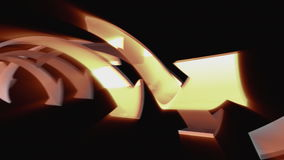 Golden 3D arrows move on black background, CG animation, seamless loop stock video footage