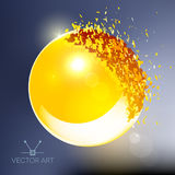 Golden 3D ball exploded into pieces. Golden 3D ball with flares exploded into messy pieces Stock Photos