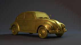 Golden 3D Car Stock Photo