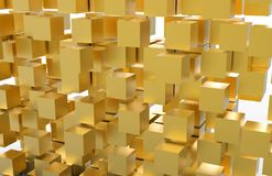 Golden 3D Cubes, 3D Illustration. Golden 3d cubes on isolated white background, ready to use in business presentation Vector Illustration