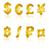 Golden 3D currency symbols, currency icon Stock Photo