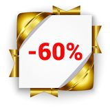 Golden 3d discount banner. White square background tied with rib. Bons. Sign of 60 percent. Realistic ads for the Internet and print. button for websites Royalty Free Stock Photography