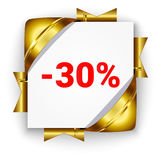 Golden 3d discount banner. White square background tied with rib Stock Photo