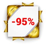 Golden 3d discount banner. White square background tied with rib. Bons. Sign of 95 percent. Realistic ads for the Internet and print. button for websites Vector Illustration