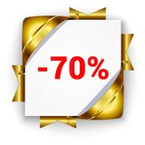 Golden 3d discount banner. White square background tied with rib. Bons. Sign of 70 percent. Realistic ads for the Internet and print. button for websites royalty free illustration