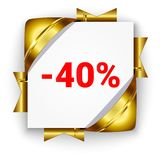 Golden 3d discount banner. White square background tied with rib vector illustration