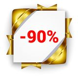Golden 3d discount banner. White square background tied with rib. Bons. Sign of 90 percent. Realistic ads for the Internet and print. button for websites royalty free illustration