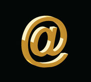 Golden 3d email symbol vector Stock Image