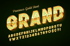 Golden 3d font with gems, gold letters and numbers royalty free illustration