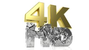 Golden 3D 4K and silver cracked HD. Symbols royalty free illustration