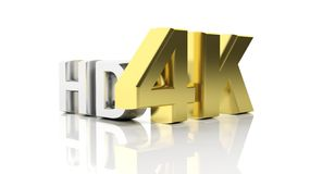 Golden 3D 4K and silver HD Stock Photography