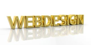 Golden 3D Metallic Webdesign Word. With Reflection on the Ground and White Background - Rendered Illustration stock illustration