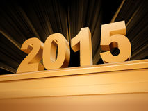Golden 3d 2015. 3d golden new year 2015 with rays over base Stock Photography
