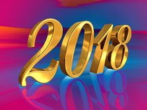 2018, Golden 3D Numbers on a Festive Background. Gold 2018 Celebration Number, Golden 3D Numbers on a Festive Background, 2018 Happy New Year or Christmas Royalty Free Stock Photography