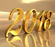 2018, Golden 3D Numbers on a Festive Background. Gold 2018 Celebration Number, Golden 3D Numbers on a Festive Background, 2018 Happy New Year or Christmas Royalty Free Stock Photo
