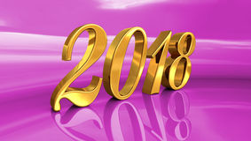 2018, Golden 3D Numbers on a Festive Background. Gold 2018 Celebration Number, Golden 3D Numbers on a Festive Background, 2018 Happy New Year or Christmas Stock Photo