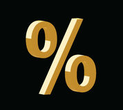 Golden 3d percent symbol. On black background Royalty Free Stock Photos