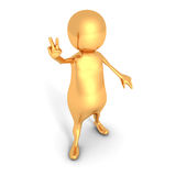 Golden 3d Person Showing Peace Victory Hand Sign Royalty Free Stock Photo