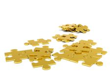 Golden 3D Puzzle Pieces - JigSaw stock illustration
