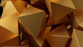 Golden 3D pyramids. Illustration. Abstract background. Golden 3D pyramids. Rendered illustration. Abstract background Stock Photo