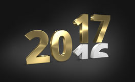 2016 2017 golden 3D render. Design vector illustration