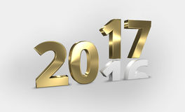 2016 2017 golden 3D render. Design stock illustration