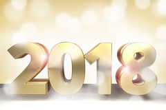 2018 golden 3d render sylvester 2018. Graphic Stock Photography