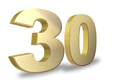 30 golden 3d render symbol. On a white background Royalty Free Stock Photography