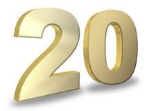 20 golden 3d render symbol. On a white background Stock Images